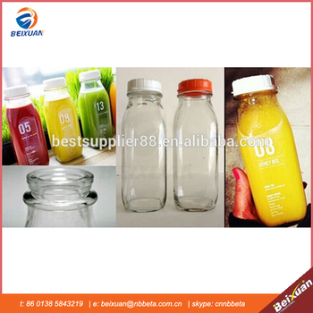 Eco-friendly,can recycling 16oz french square beverage glass bottle