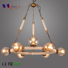 Retro rustic Hemp rope circle iron fixture glass ball chandelier pendant light