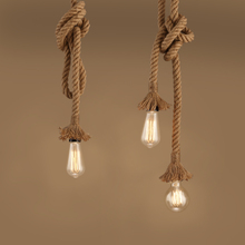 Wholesale retail DIY Contemporary fancy light decorative led jute hemp rope hanging ceiling light dia.3cm