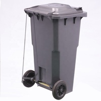 2019 Hot Sale Black Red Yellow Standard Size Hotel Lobby Trash Waste Recycle Can Bin With Pedal And Wheels