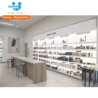 Hair Care Store Cosmetic Wall Shelf Display Stand With Led Lights