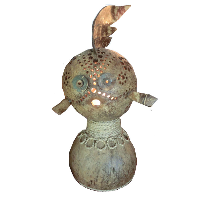 Handmade Coconut shell lamp,fish shape