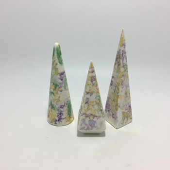 Colorful gold ceramic cone jewelry display ring holder