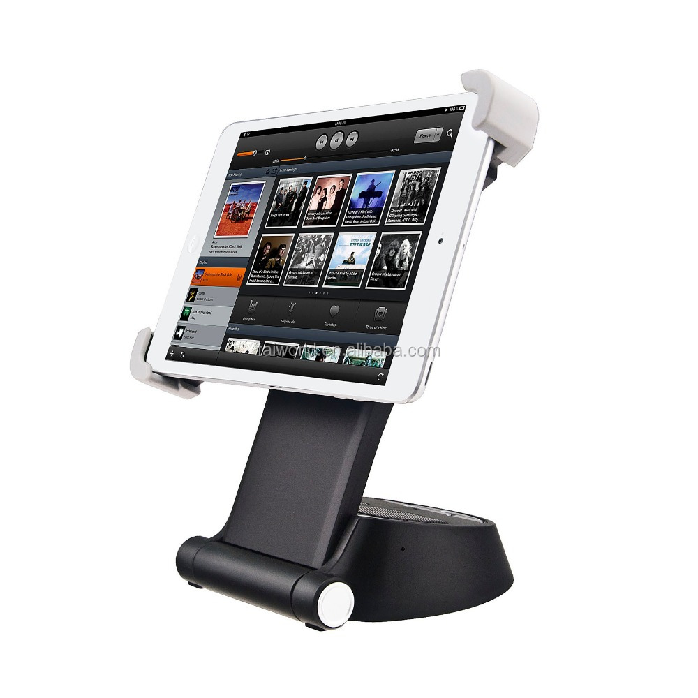 2015 new products wireless bluetooth table tablet pc stand with 360 degree rotation and stereo sound output
