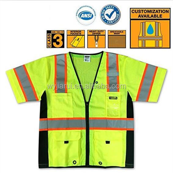 JIARUI CLASS 3 ANSI Safety mesh vests with two tone high visibility reflective tapes