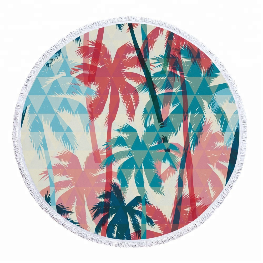Low MOQ 20 Piece Custom Photo Printed Microfiber Beach Round <strong>Towel</strong> with tassels