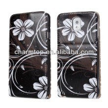 Flower Design Leather Flip Cover For Samsung Galaxy Note 3