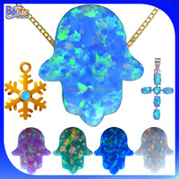 China Cabochon Cut Wholesale Price Synthetic Stone Opal Hamsa Pendant Necklace