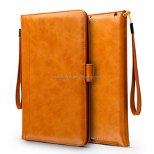 For New iPad air pro mini with sleep function crazy horse oiled leather case with lanyard