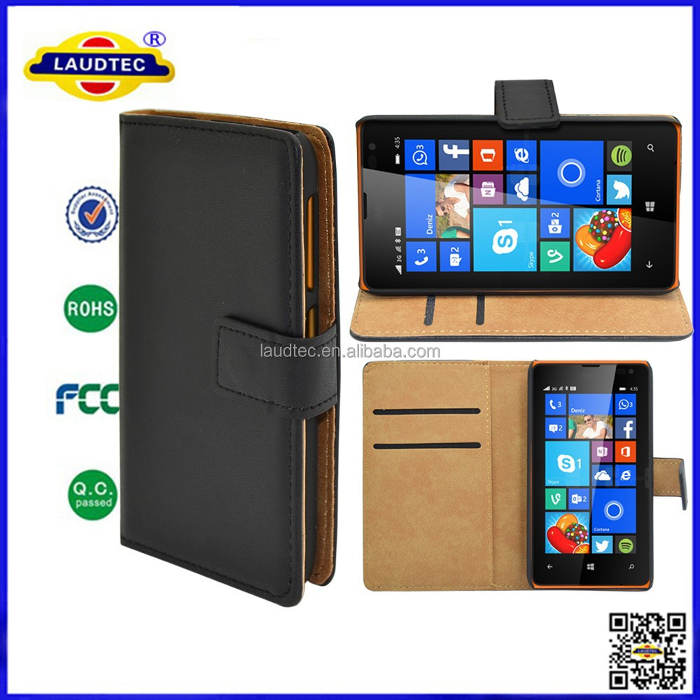 high quality Wallet Case for Microsoft Lumia 435 <strong>leather</strong> wallet case cover,2 slots for Credit Cards,<strong>1</strong> Slot for money----Laudtec