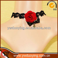 STOCK Gothic Lolita Lace ribbon black Flower rose Choker necklace