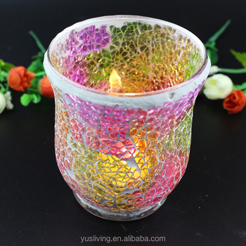 promotion wedding christmas mosaic glass Candle Holder factory direct price