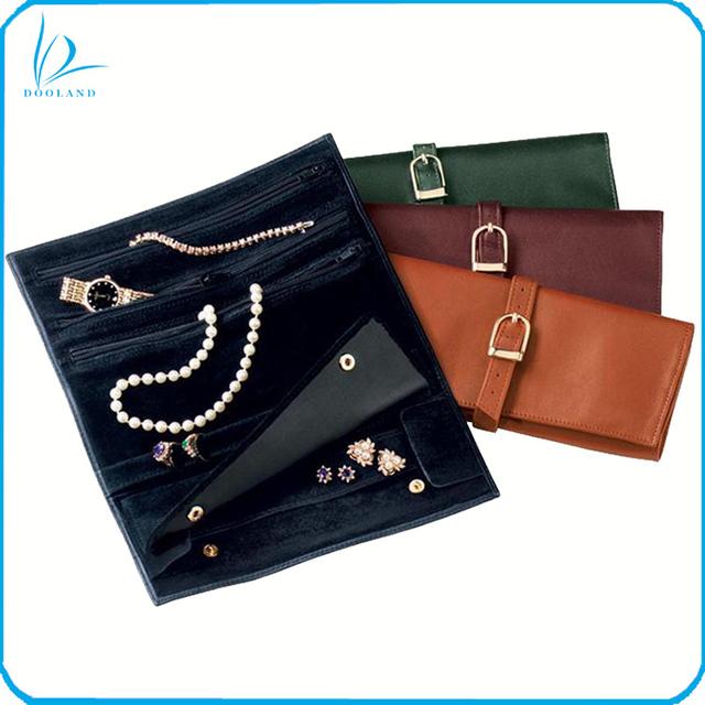 High quality custom production women genuine leather jewellery organizer, jewlery roll purse
