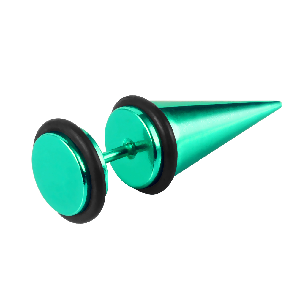 Green Plated Two Rubber Ring Around Ear Taper Wholesale Ear Plugs with Round Base Body Jewelry