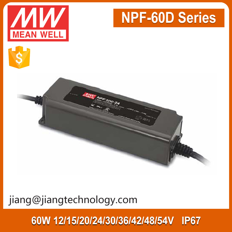 60W LED Power Supply 30V 2A NPF-60D-30 Meanwell PWM Dimmable LED Driver IP67
