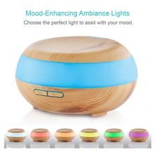 Humidifier Wood Grain 300ml Aroma Essential Oil Diffuser ,3 Timer Settings - 7 Color LED Lights