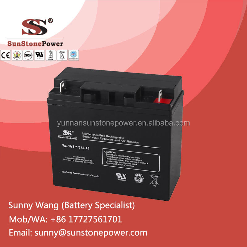 Sunstone Power 12V 18ah Sealed Lead Acid AGM Battery Deep Cycle Dry Solar Cell
