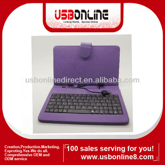 "USB Keyboard case Smart Cover Leather Case Stylus Pen for 7"" Tablet PC MID purple"