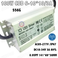 100W LED Driver 36V PF AC85-277V 6-10Cx10B DC18-36V 3000MA Constant Current LED Power Waterproof IP67 For 100W COB Spotlight