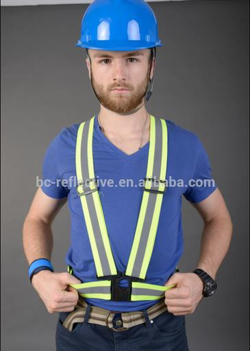 Adjustable yellow reflective belt with 4 plastic buckles