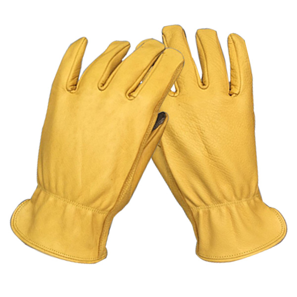 Reinforced palm patch elastic back Deerskin work gloves with touchscreen