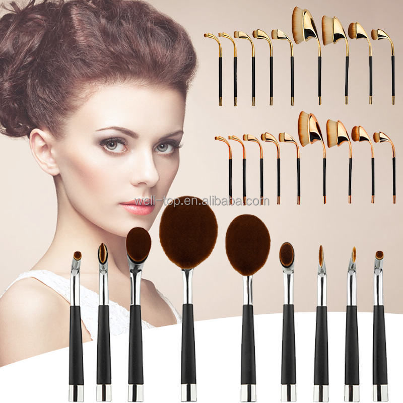 2016 Amazon Factory Offer WholeSale OEM New Fashion Girls Tops 10 Oval Make up brush Set Cosmetic Toothbrush Makeup Brush