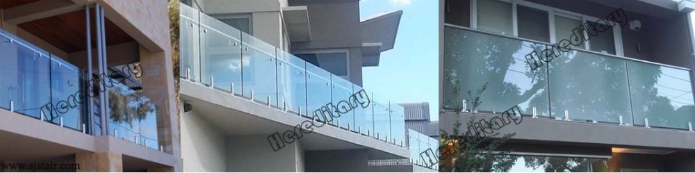 indoor CE certificated sus 304 316 glass stair railing cost with inox glass balustrades