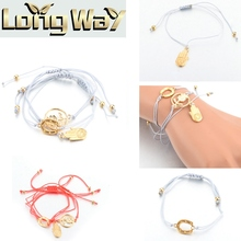 Fancy Multi Layer Thin String Hamsa Bracelet Simple Women Gold Charm Alloy Bracelet
