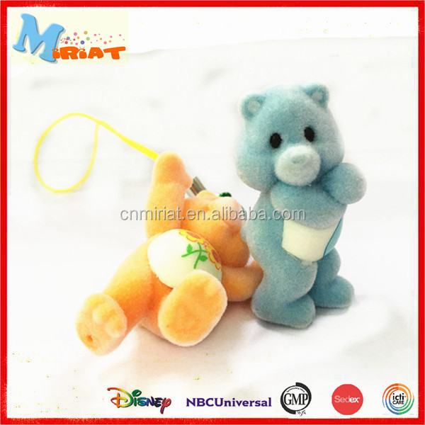 Newest design vivid plastic flocking bear mascot toy for kids