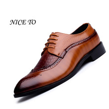 New Arrival British Style Men Classic Business Formal Shoes Pointed Toe Retro Bullock Design Men Oxford Dress Shoes