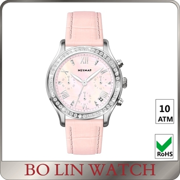 Genuine Leather Strap Ladies Stainless Steel Watch Diamond
