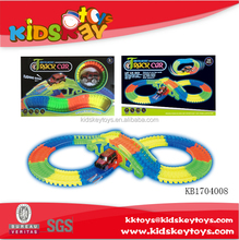 Colorful electric magic block kids racing track car with light,glowing race track