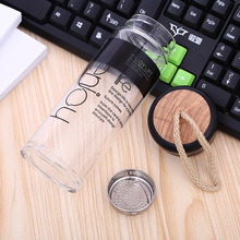 300ml Transparent Glass Water Bottle Tea Infusers Heat Resistant Office Juice Coffee Drink Bottle WIth Wood lid