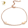 Marlary OEM/ODM Service Rose Gold Plated Stainless Steel Heart And Name Women Anklet