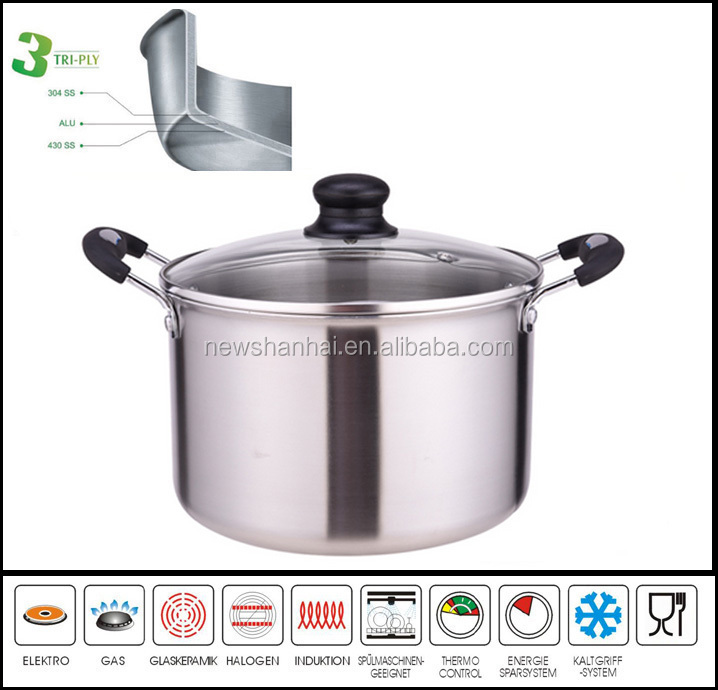 3 Ply Body Deep Soup Pot Stockpot