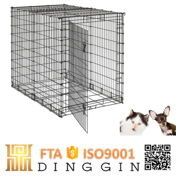 Convenient folding wire mesh dog crate