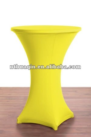 spandex stretch high cocktail table cover yellow for bar tables with 4 Legs
