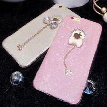 2016 New Arrival Hot Selling Bling Diamond with Bowknot TPU Soft Phone Back Cover for Iphone 5 / 6 / 6 plus