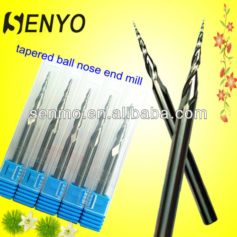 Senyo-Solid Carbide Tapered Ball Nose End Mills/CNC Straight Shank Shell End Milling Cutters/2 Flute Tapered Ball End Mill Set