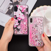 Mobile Phone Accessories Hard PC Flower Floral Glitter Liquid Case for iPhone X