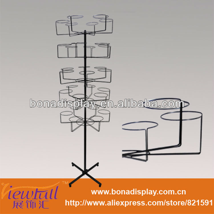hanging hat racks hat free standing wire display racks with rotating layers BN-1109BLK