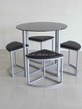 Cheap Round Design Glass Top Dining Table With Stools Buy Glass Top Round D