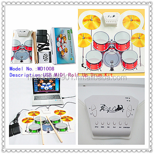 USB MIDI Roll Up Drum Kit Portable drum set, roll-up drum set, drum kits(5pcs set)