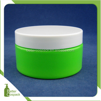 plastic round cream jar PET empty green