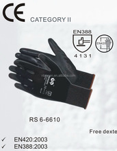 RS SAFETY 1/2 dipping 13gm open back black pu glove with OEM