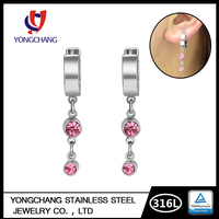 Hinged design fashion stainless steel red color rhinestone crystal dangle hoop earrings