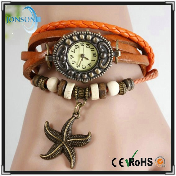 Promotional new hot quartz movement cow leather wrap strap womens watches for small wrists