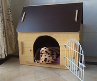 Solid wood in small dog pet cat house