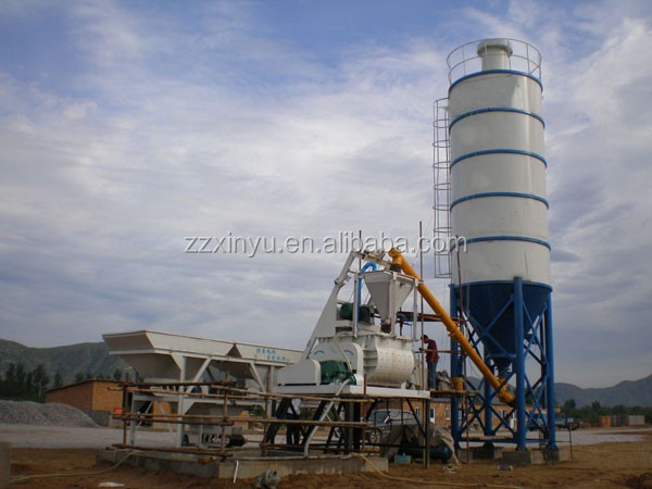 XINYU Brand HZS 25 35 50 Fixed Compulsory Automatic Feeding Cement Concrete mini batching plant price