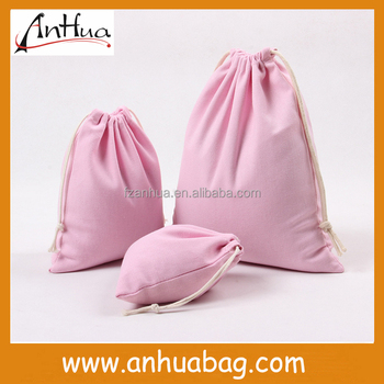 Simple Pink Muslin Bag Drawstring
